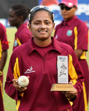 Anisa Mohammad with Player of the Match Trophy