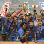Indian Players Celebrate After Winning Cricket World Cup 2011