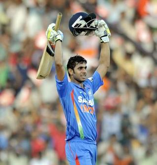 Player of the match Manoj Tiwary scroed crucial 104 against West Indies in the fifth and final ODI at MA Chidambaram Stadium, Cheapuk, Chennai.