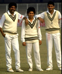 Sachin Tendulkar with Kapil Dev and Azharuddin