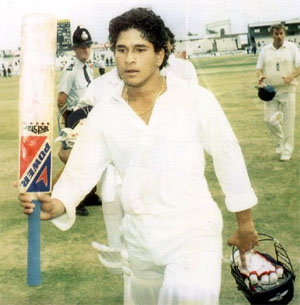 Sachin Tendulkar leaves Old Trafford after scoring his first test century against England in 1990