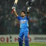 Virat Kohli Celebrates after scoring his century against West Indies in 2nd ODI
