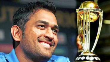 MS Dhoni with ICC Cricket World Cup 2011 Trophy