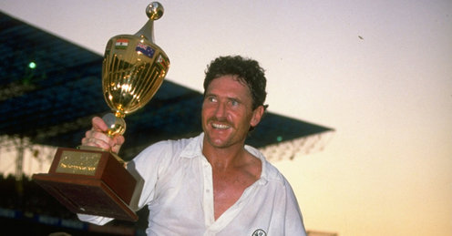 Allan Border with 1987 World Cup Trophy
