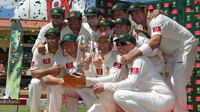 Australia Cricket Team With Border–Gavaskar Trophy