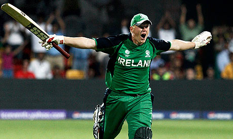 Kevin O'Brien Celebrates after scoring his fastest ODI Century