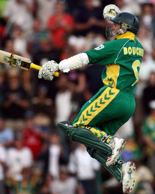South Africa&#039;s batsman Mark Boucher celebrates after hitting the winning run
