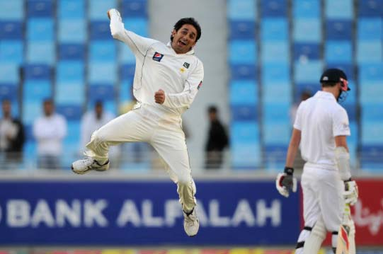Saeed Ajmal Celebrates after Dismissal of Graeme Swann in the 1st Test against England in Dubai
