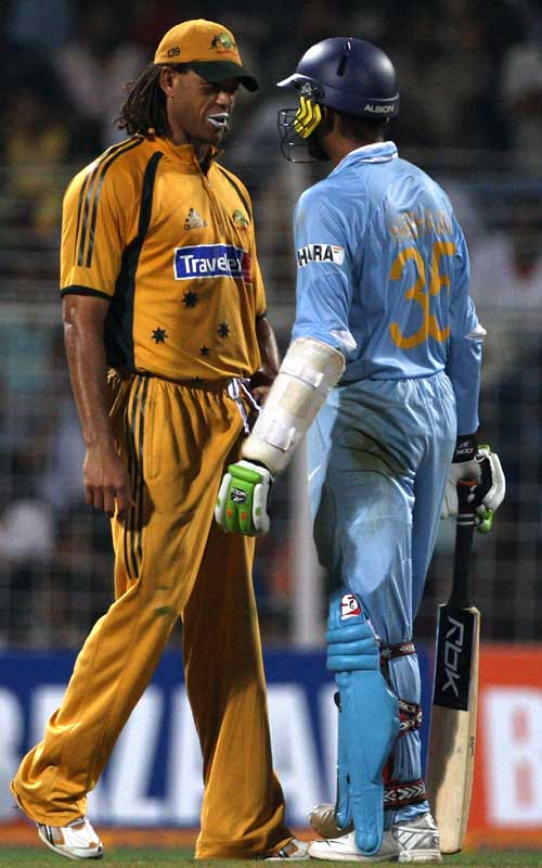 Andrew Symonds of Australia exchanges words with Harbhajan Singh of India during the seventh One Day International match between India and Australia at Wankhede Stadium on October 17, 2007 in Mumbai, India