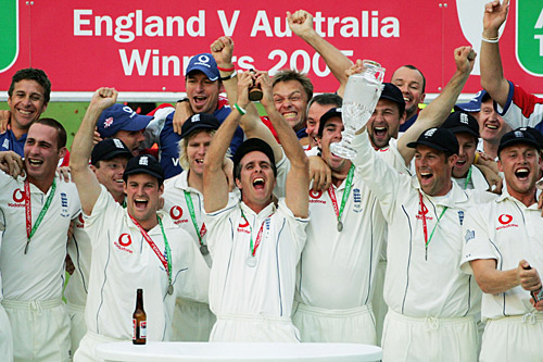 England Cricket Team Celebrating after Ashes 2005 Victory