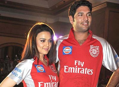 Kings XI Punjab Owner Preity Zinta and captain Yuvraj Singh