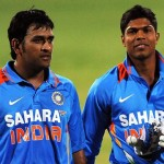 MS Dhoni and Umesh Yadav proudly walk out after scoring a tie against Sri Lanka