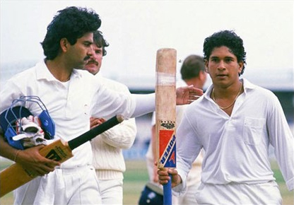 Sachin Tendulkar walks out after scoring his 1st Century- against England in Manchester in 1990