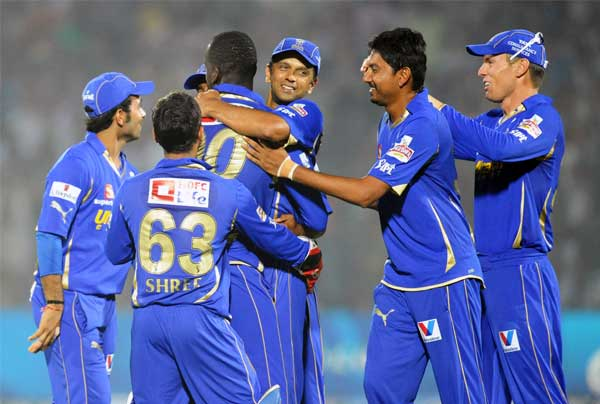 The jubilant Rajasthan Royals - Better team work crushed Kolkata Knight Riders
