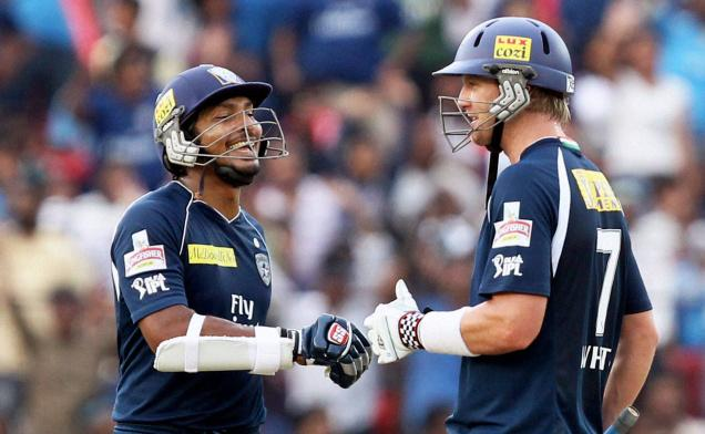 Kumar Sangakkara and Cameron White - A match winning partnership of 157 runs