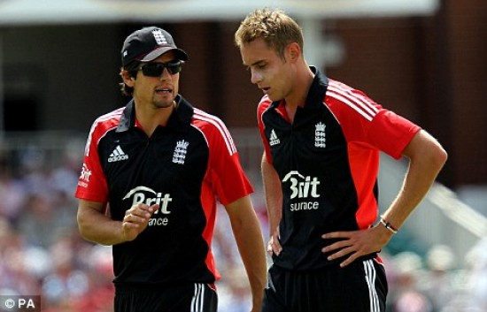 Alastair Cook and Stuart Broad - Will lead in the ODIs and T20 respectively