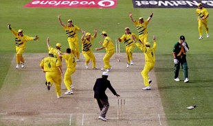 Australia celebrate as a tie helped them make it to the final
