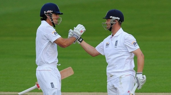 Alastair Cook and Jonathan Trott - A solid stand of 173 runs for the 2nd wicket