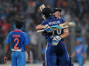 Eoin Morgan and Jos Buttler - The excitement after winning the thriller