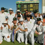 The jubilant South African team after winning the series 1-0