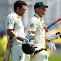 Ed Cowan and David Warner - Stars of the day for Australia