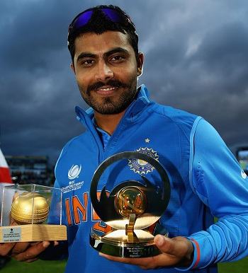 Ravindra Jadeja - With golden ball and 'Player of the match' trophies