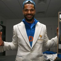 Shikhar Dhawan - With golden bat and 'Player of the series' trophies
