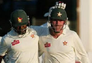 Hamilton Masakadza and Brendan Taylor - A solid partnership of 110 runs for the third wicket