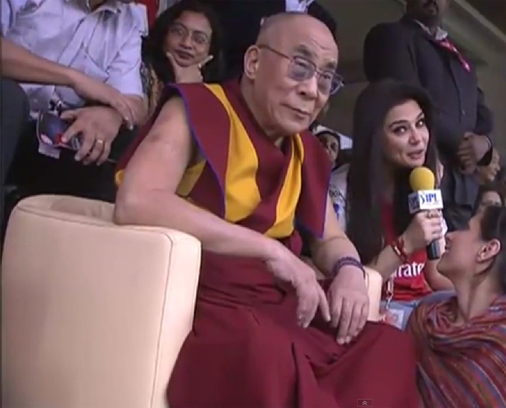 Dalai Lama and Preity Zinta watching IPL Cricket Match at Dharamsala
