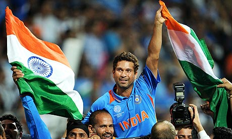 Sachin Tendulkar Celebrating World Cup 2011 Victory