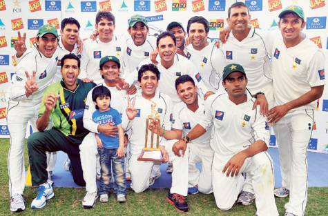 Pakistan Cricket Team with Trophy After Defeating England in Test Series in Dubai