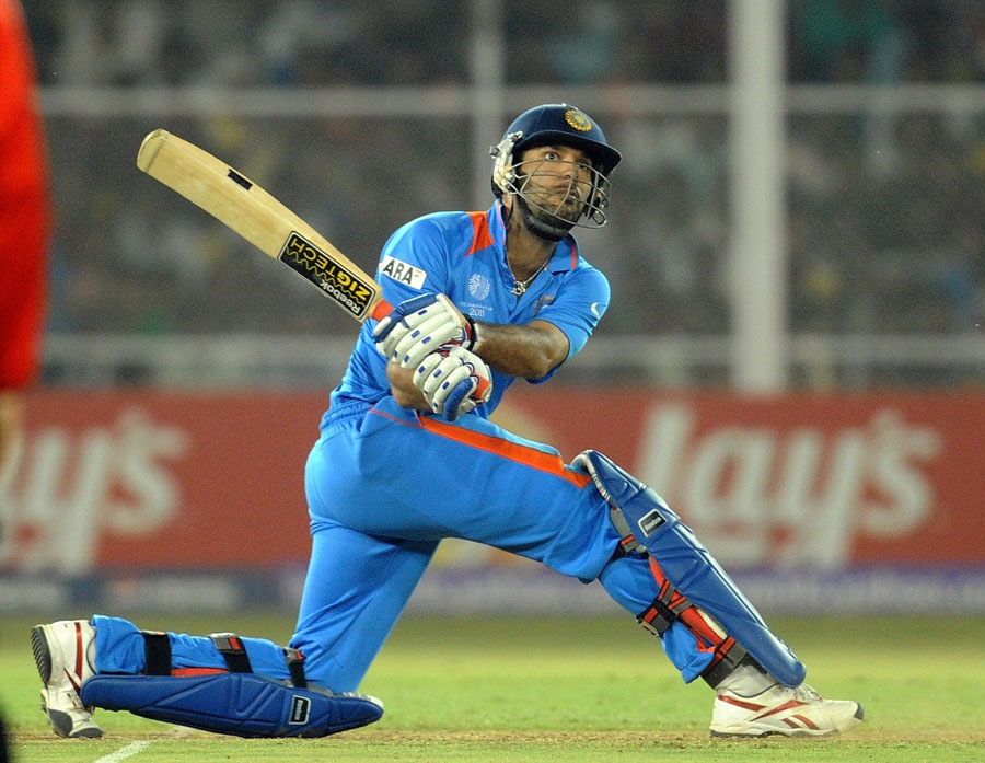 Yuvraj Singh in action during ICC Cricket World Cup 2011