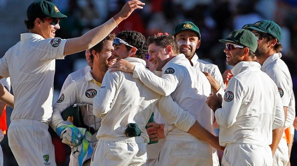The Australians celebrate victory
