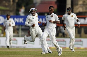 The jubiliant Lankan Lions after beating Pakistan comprehensively in the first Test