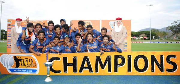 The proud India Uner-19s squad after grabbing the ICC Under-19 World Cup 2012