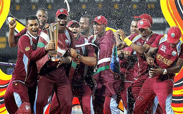 West Indies Cricket team with ICC World Twenty20 2012 Trophy