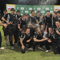 The jubilant New Zealand squad after winning the ODI sereis 2-1