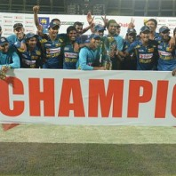 The victorious Sri Lankan side after clinching the series 4-1